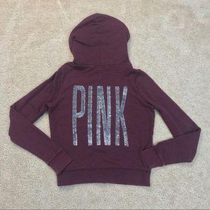 ☘️2/$30 VS Pink Maroon Bling Full Zip Hoodie